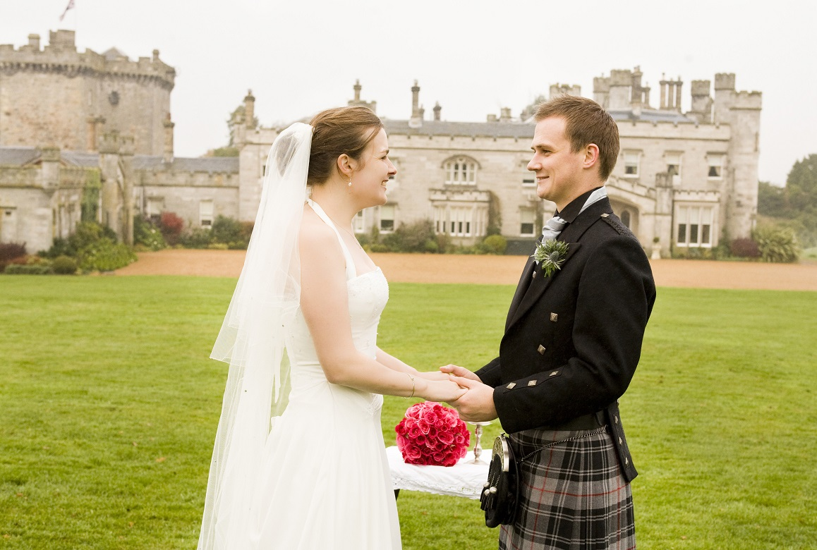 Dundas Castle outdoor wedding ceremony Edinburgh Scotland