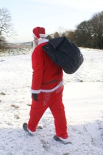 Santa goes for a wander on the estate