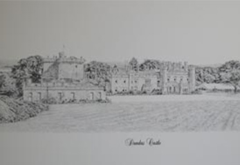 Pen Ink Drawing of Dundas Castle