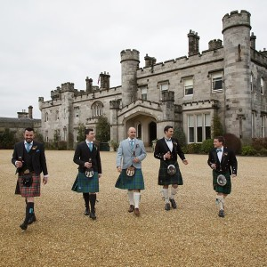 Groomsmen in front of the Castle