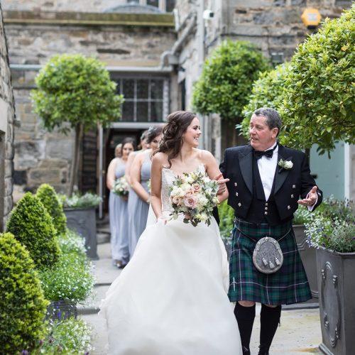 Dundas Castle bride walking to wedding ceremony